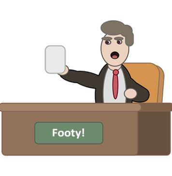 Footy expert at desk
